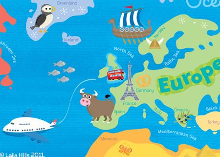 Map Of France For Children.Children S World Map Laila Hills Illustration And Design