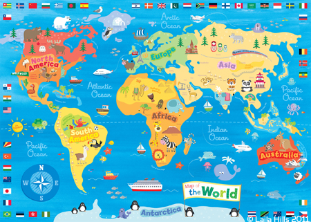 Childrens world map laila hills illustration and design knowledge and also to think about the kinds of animals and places which would appeal to children and inspire them to think about travel and adventure gumiabroncs Gallery